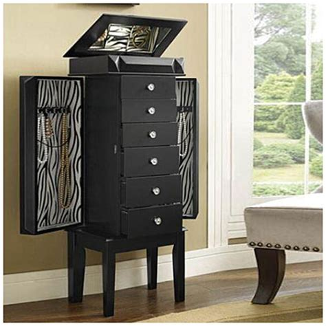 Big Lots Jewelry Armoire by Black Jewelry Armoire With Zebra Print Inlay Big Lots