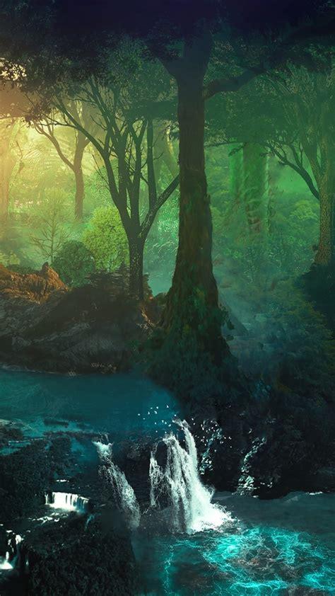 wallpaper beautiful forest waterfall stream hd
