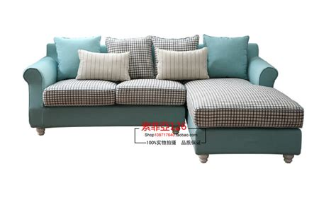 european mediterranean blue plaid fabric sofa sofa corner