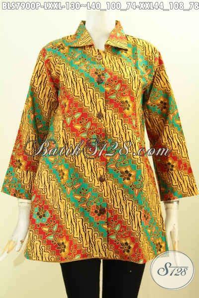 Kain Batik Print Modern Parang Bunga batik blus wanita kantoran busana batik elegan motif