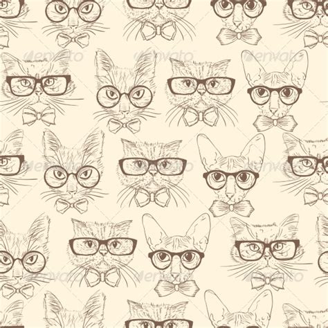 black and white hipster pattern backgrounds cat hipsters seamless pattern graphicriver