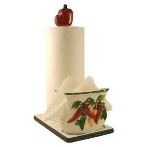 amazon com 3d red chili pepper utensils holder kitchen ceramic happy chef napkin towel holder 89077 by ack
