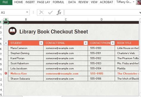 Library Checkout Spreadsheet For Excel Excel Library Template
