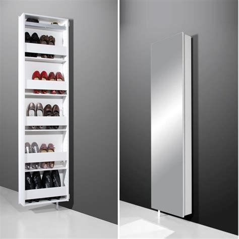rotating storage cabinet with mirror igma mirrored rotating shoe storage cabinet in white 6958