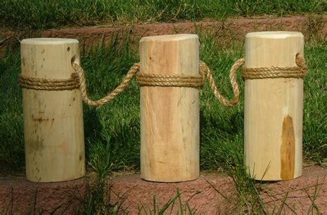 Wood 3 Pier Post Tealight Nautical Roped Single Cedar Piling Pier 3 Posts 12 Quot T Ebay