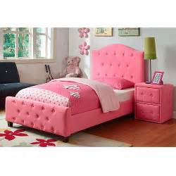 upholstered bed and nightstand set pink
