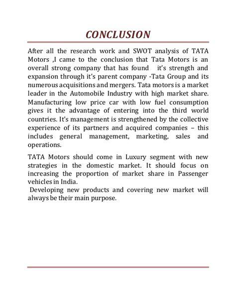 Tata Motors Project For Mba tata motors project