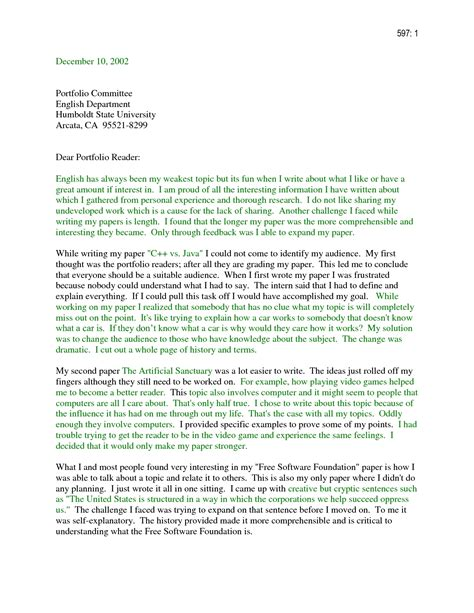 cover letter for portfolio exles sle portfolio cover letter the best letter sle