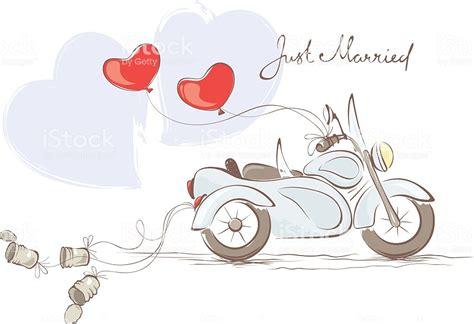 Motorrad Spr Che Hochzeit by Hochzeit Motorrad Mit Beiwagen Stock Vektor Und Mehr