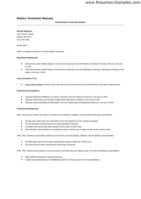 Resume Objective For Aide Dietary Aide Resume Sle Dietary Technician Resume