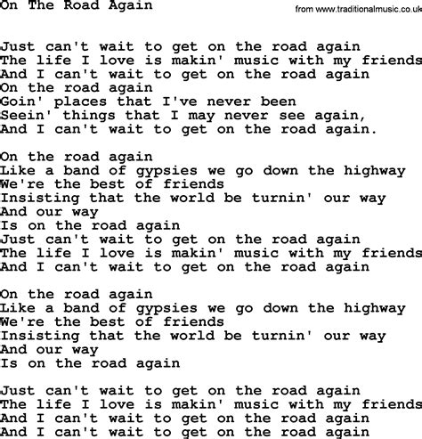 lyrics by willie nelson willie nelson song on the road again lyrics