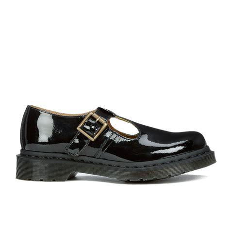 t bar black flat shoes dr martens s polley patent ler t bar flat shoes