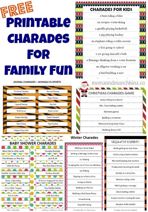 printable charades cards 13 best images about charades game for kids on pinterest