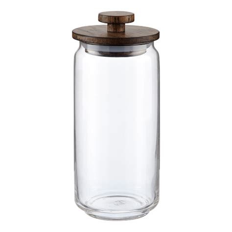 kitchen glass canisters with lids artisan glass canisters with walnut lids the container store