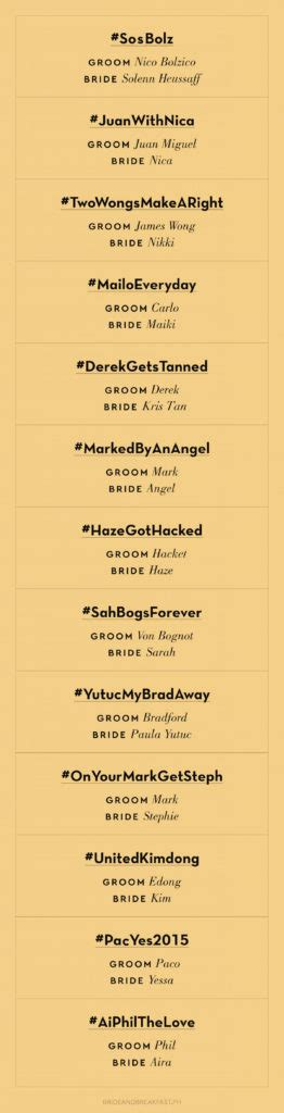 Best Wedding Hashtags by Punniest Wedding Hashtags 07 Philippines Wedding