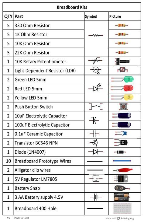 breadboard kit component list knowledge arduino