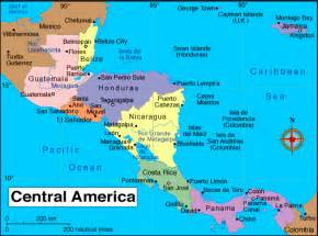 colored central america map of the region