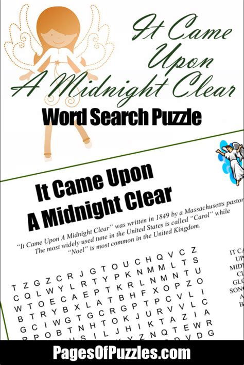 printable lyrics it came upon a midnight clear it came upon a midnight clear word search pages of puzzles