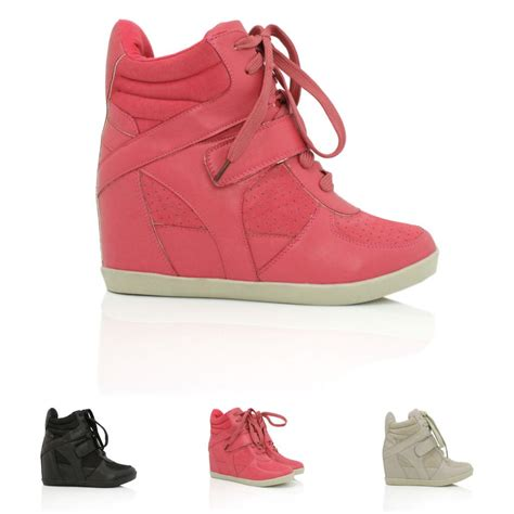 heel high tops new womens wedge heel lace up hi top trainer shoes