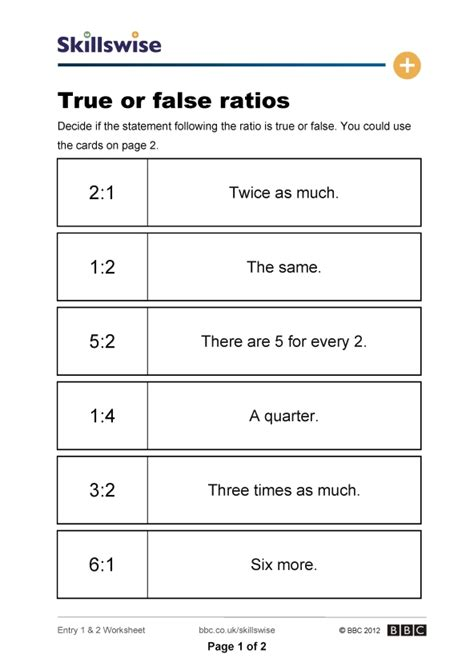 Ratio Worksheets by True Or False Ratios