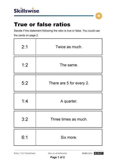 Percent Proportions Worksheet by True Or False Ratios
