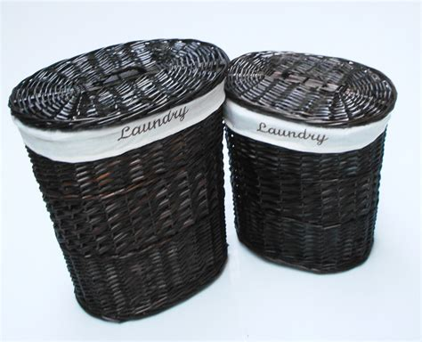 black laundry with lid brown white black oval wicker laundry basket with lid