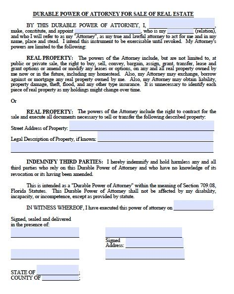 blank power of attorney forms
