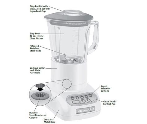 Kitchen Sections And Their Functions by Kitchenaid Ksb565ac 5 Speed Artisan Series Blender With