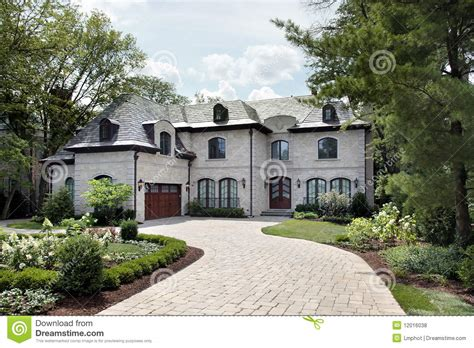luxury home with circular driveway royalty free stock