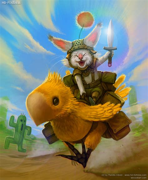 moogle riding chocobo by randis on deviantart