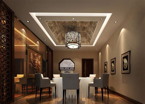 Dining Room Ceiling Decor Modern Dining Room With Wrapped Ceiling Design Image