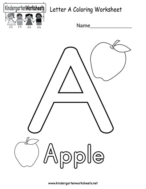 Free Printable Letter Worksheets by Letter A Coloring Worksheet Free Kindergarten