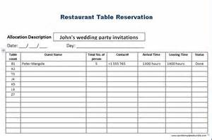 Table Menu Template by Restaurant Table Reservation Template Formal Word Templates