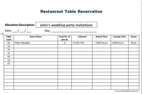 Restaurant Table Reservation Template Formal Word Templates Reservation Calendar Template
