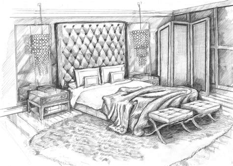 pencil sketch art master bedroom concept design visual