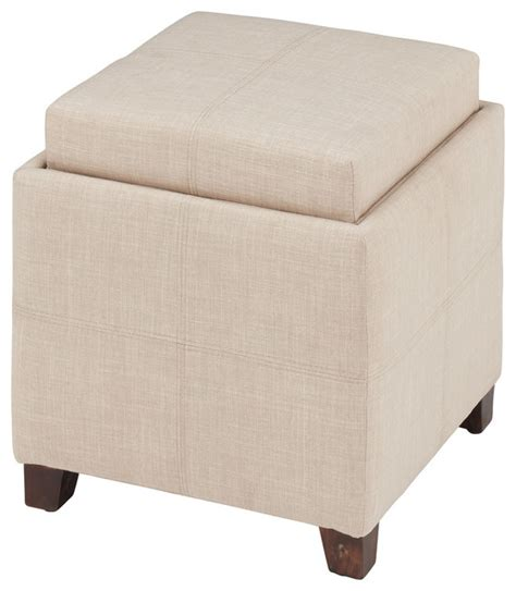 Fabric Storage Ottoman With Reversible Tray Transitional Ottomans With Trays And Storage