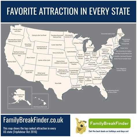 map of attractions map favorite tourist attraction in every us state