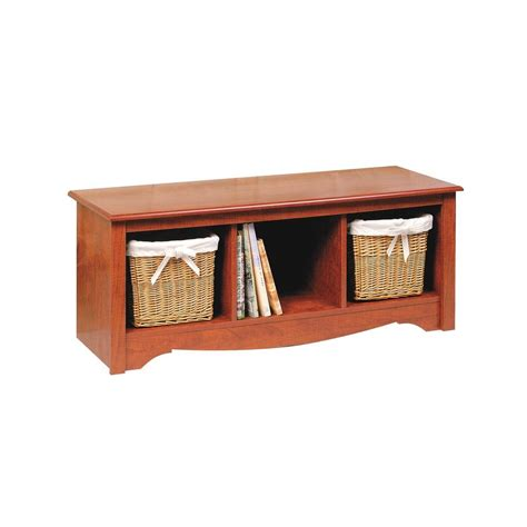 prepac storage bench prepac monterey cubbie storage bench in cherry csc 4820