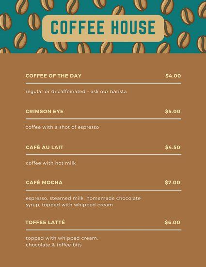 design a coffee shop menu layout from scratch with photoshop and indesign menu templates canva