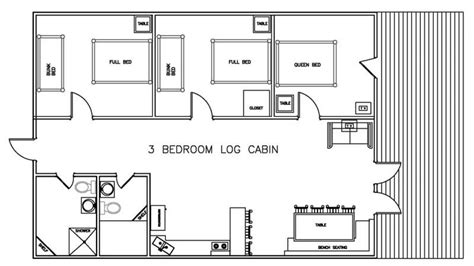 3 Bedroom Cabin Floor Plans | 3 bedroom log cabin floor plans bellows afb 1 bedroom