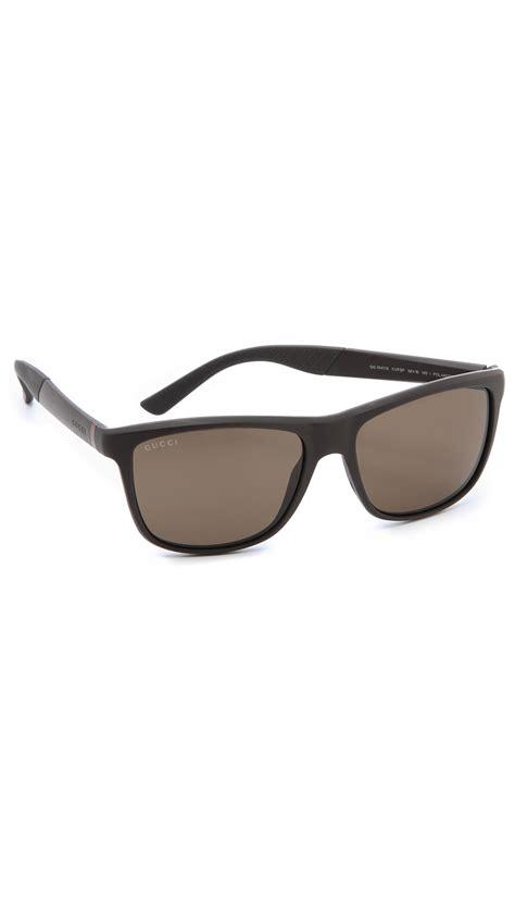 lyst gucci polarized square sunglasses in brown for