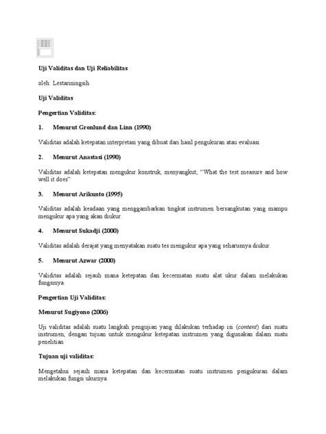 Reliabilitas Dan Validitas Saifudin Azwar uji validitas dan uji reliabilitas