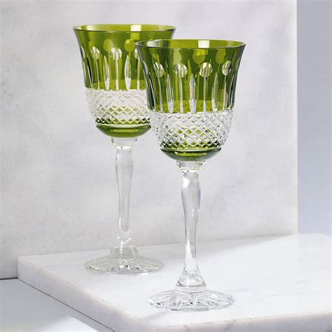 pineapple crystal wine glass by gurasu fine crystal set of two rainbow olive green wine glasses by gurasu