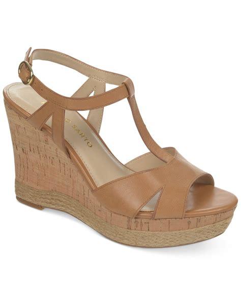 franco sarto swerve platform wedge sandals in brown lyst