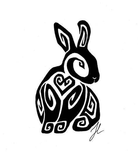 rabbit tribal tattoo designs sitting bunny by rienquish on deviantart