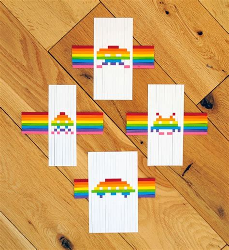 Paper Weaving Crafts - diy space invaders pixelated paper bit rebels