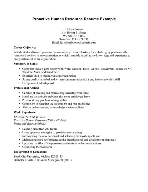 career objective of hr manager exles of human resource projects writing resume