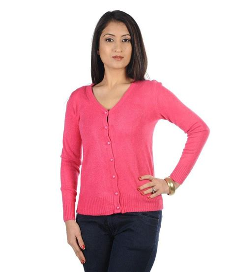 Premium Cross Cardigan Pink buy hugo chavez pink woollen buttoned cardigans at best prices in india snapdeal