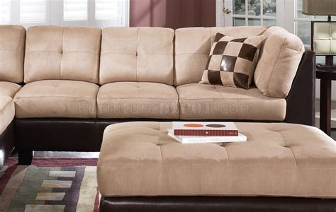 Suede Sectional Sofas Suede Two Tone Modern Sectional Sofa W Bycast Base