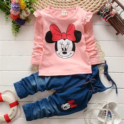 Kid Set Fingers Minnie Denim 2016 new autumn baby set minnie mouse t shirt